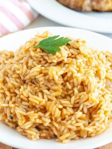 Rice on a plate.