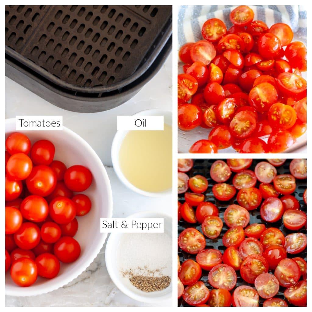 Bir kase kiraz domates, yağ, tuz ve karabiber.