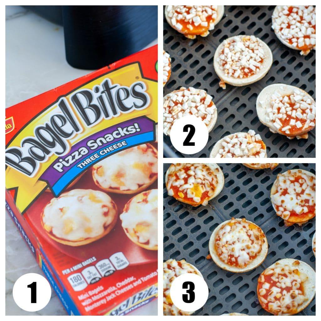 Box of bagel bites, in the air fryer basket.