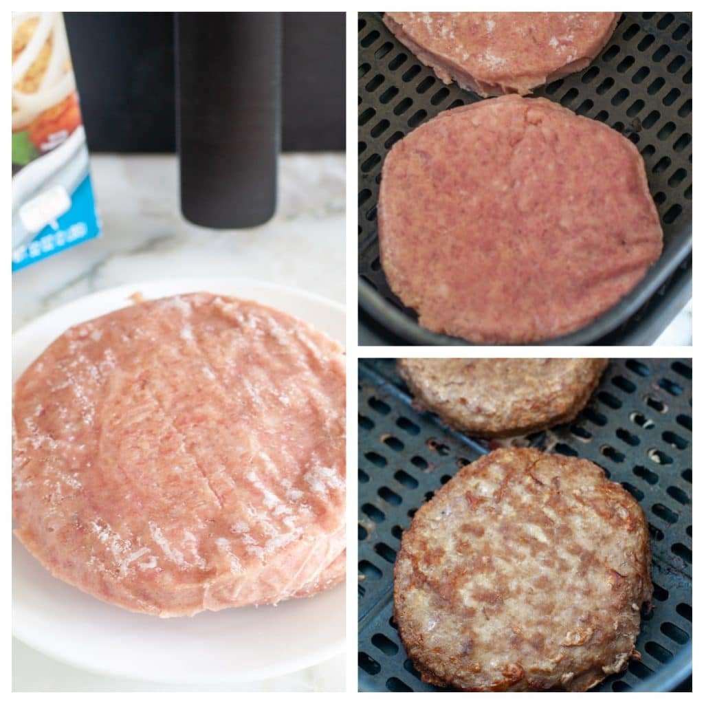 Frozen turkey burger patties on plate and in air fryer.