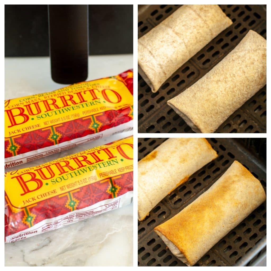 Packaged frozen burritos.