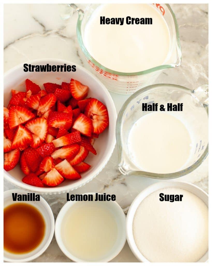Bowl of strawberries, cream, sugar and vanilla.