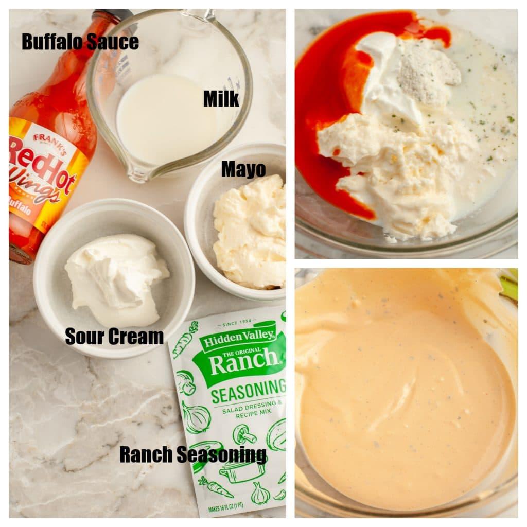 Bir kase mayonez, ekşi krema ve bufalo sosu.