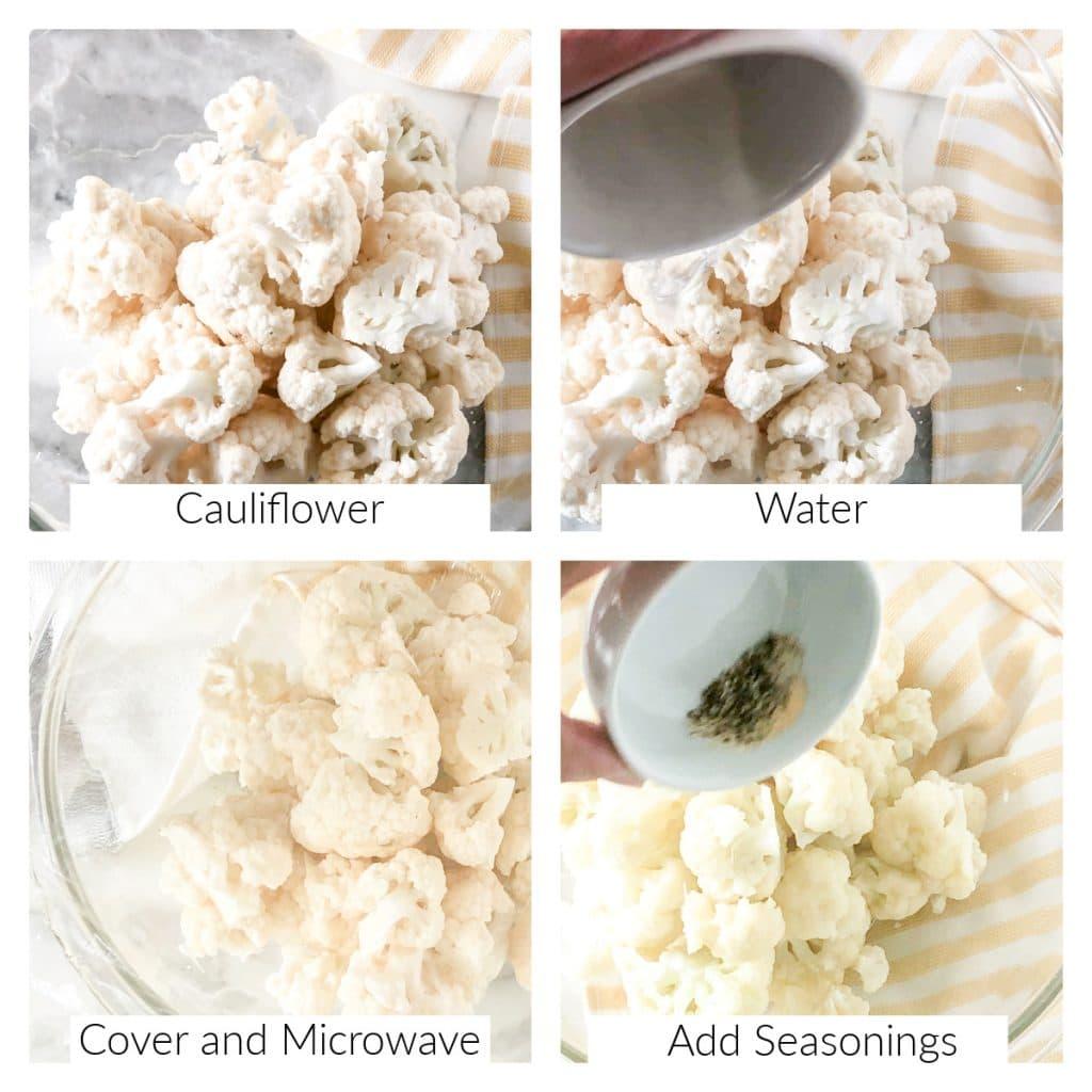 Bowl of cauliflower florets and seasonings.