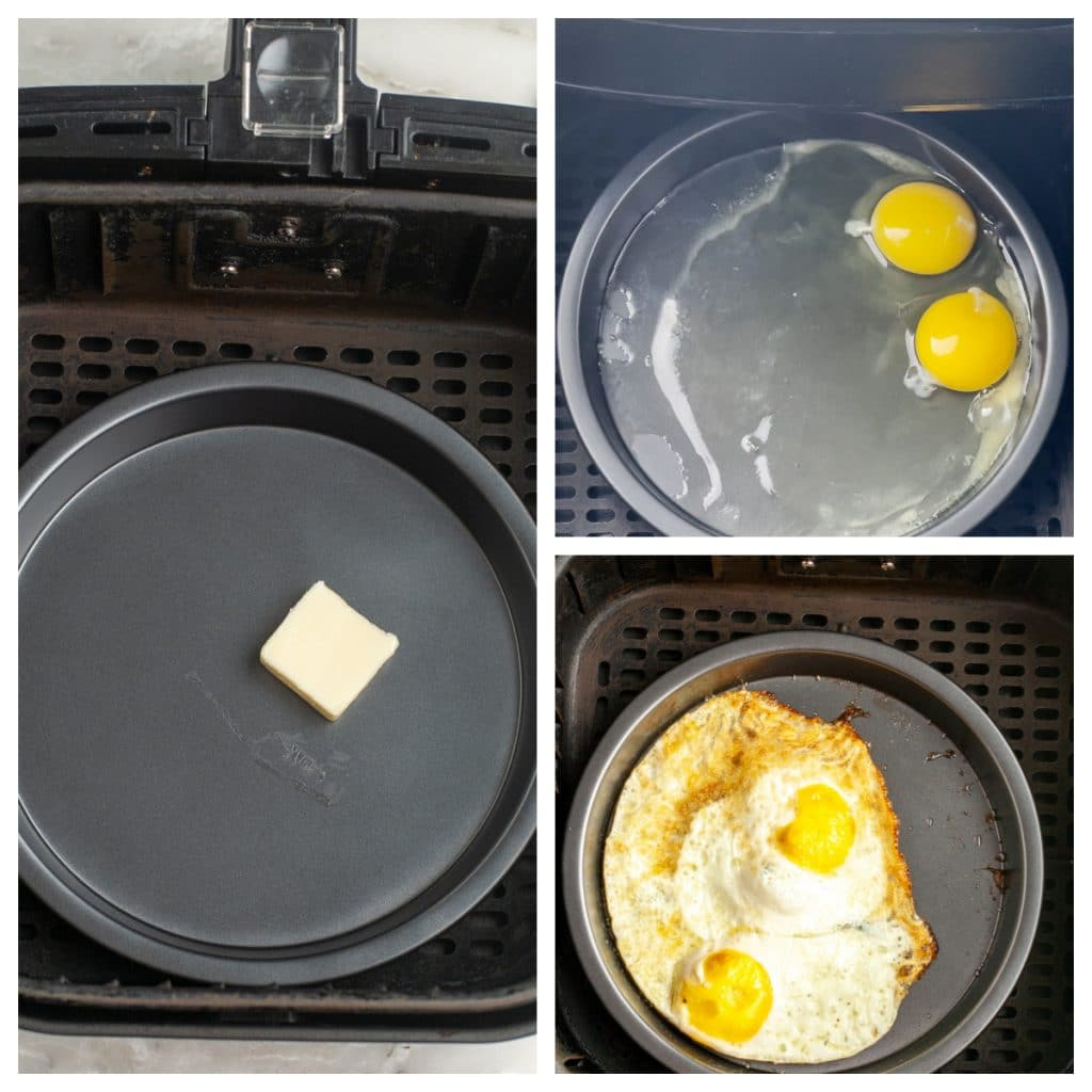 Butter and eggs in a pan.