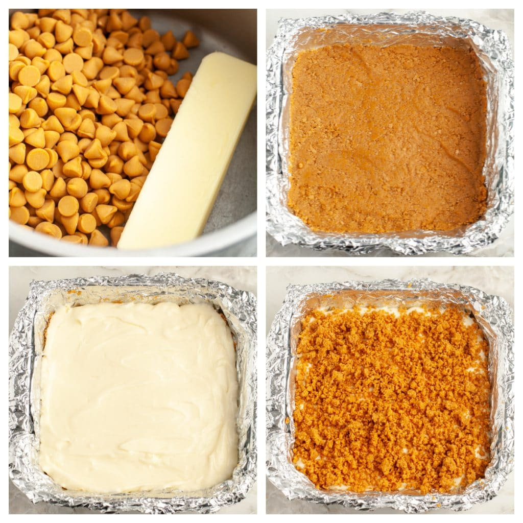 Baking dish with crumbs, cream cheese and topping.