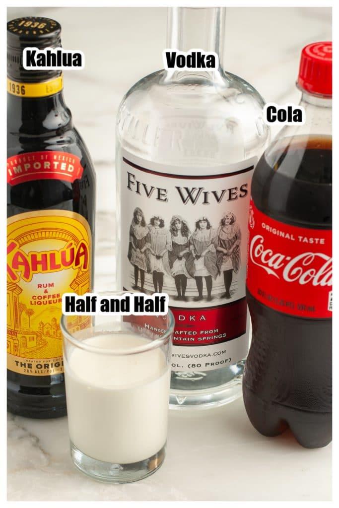 Bottle of kahlua, vodka, cola, cream.
