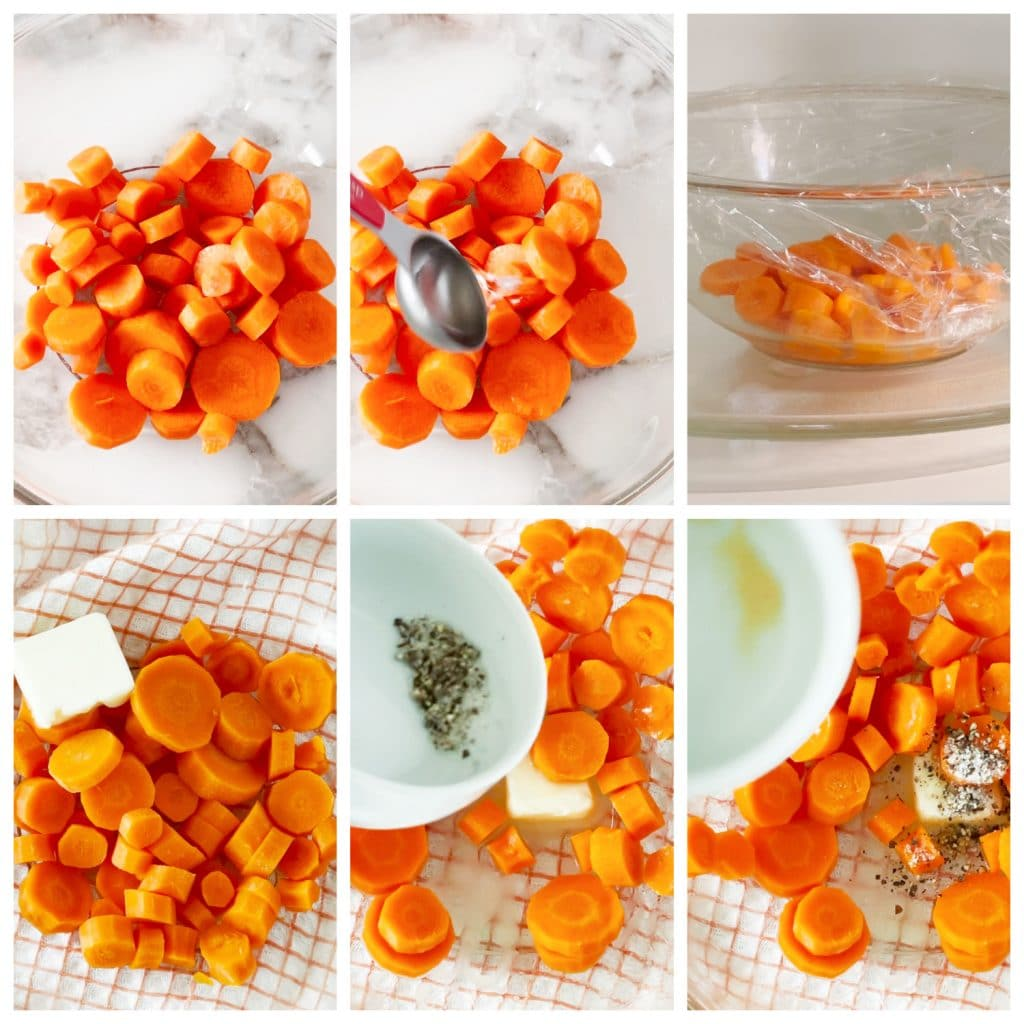 Sliced carrots in bowl with butter and seasoning.