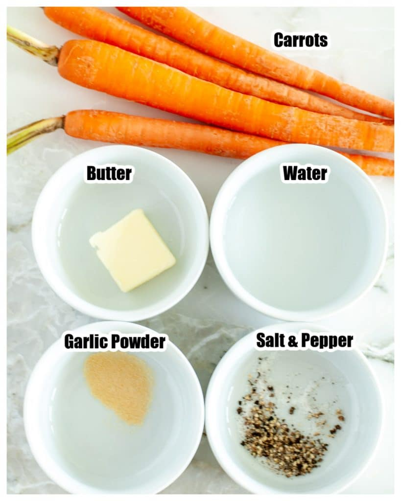 Bowls with butter, seasoning, water and carrots.