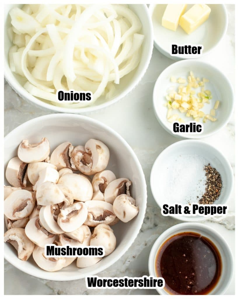 Bowl of onions, mushrooms, butter, garlic, Worcestershire sauce.