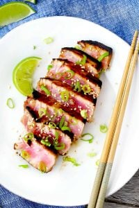 Sliced seared tuna on plate.