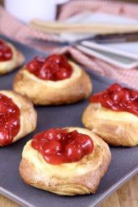 Cherry danish on a pan.