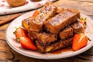 Stack of french toast sticks.