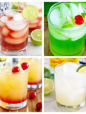 Four different drinks in glasses.
