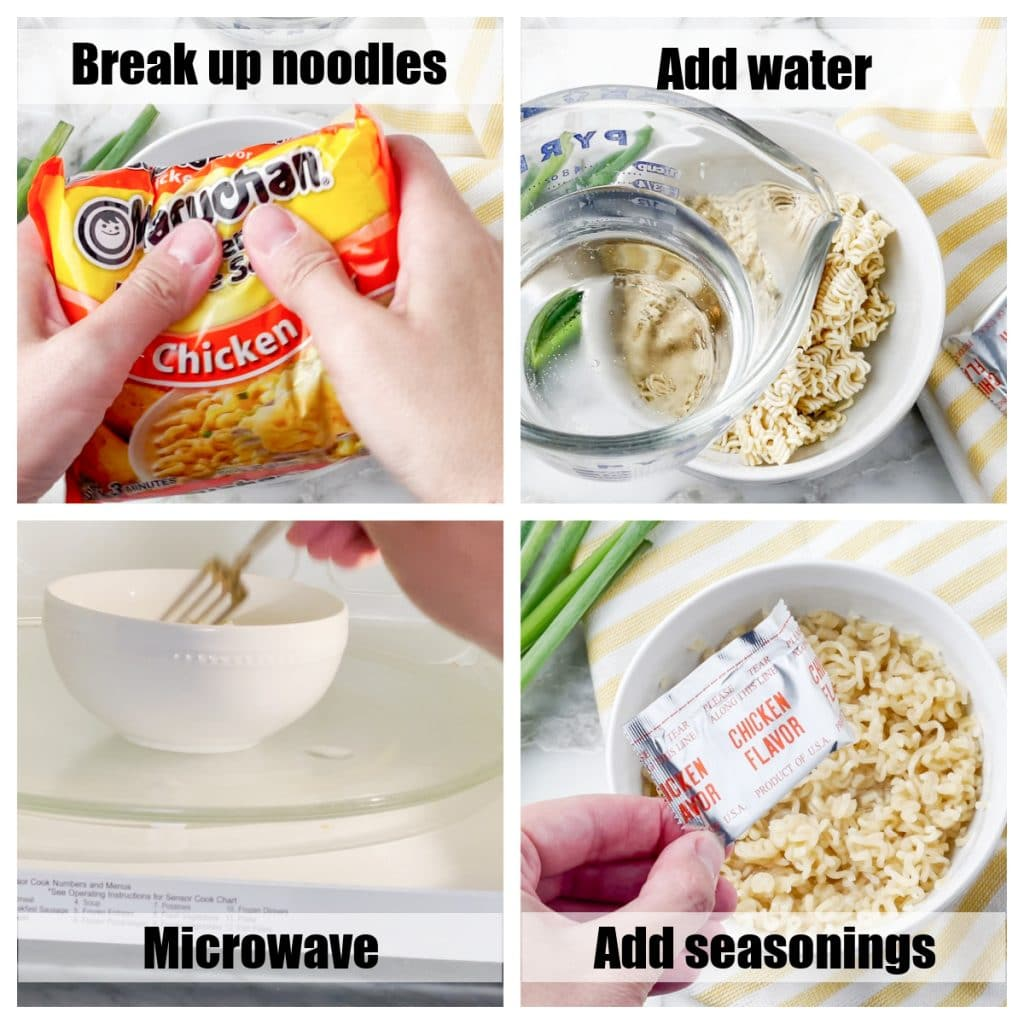 Noodles in a bowl and in the microwave.
