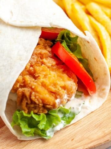 Chicken wrap and french fries.