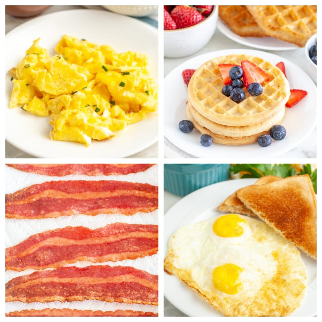 Eggs, bacon and waffles.