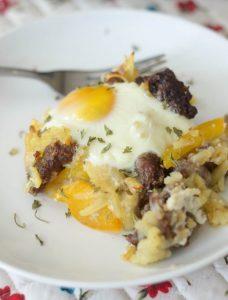 Breakfast casserole on plate.