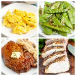 Eggs, steak, peas and pork loin.