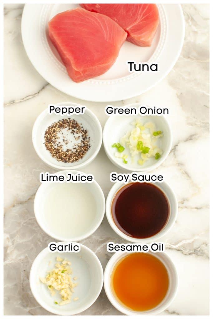 Tuna steak, bowl of pepper, onion, juice, soy sauce, garlic, sesame oil.