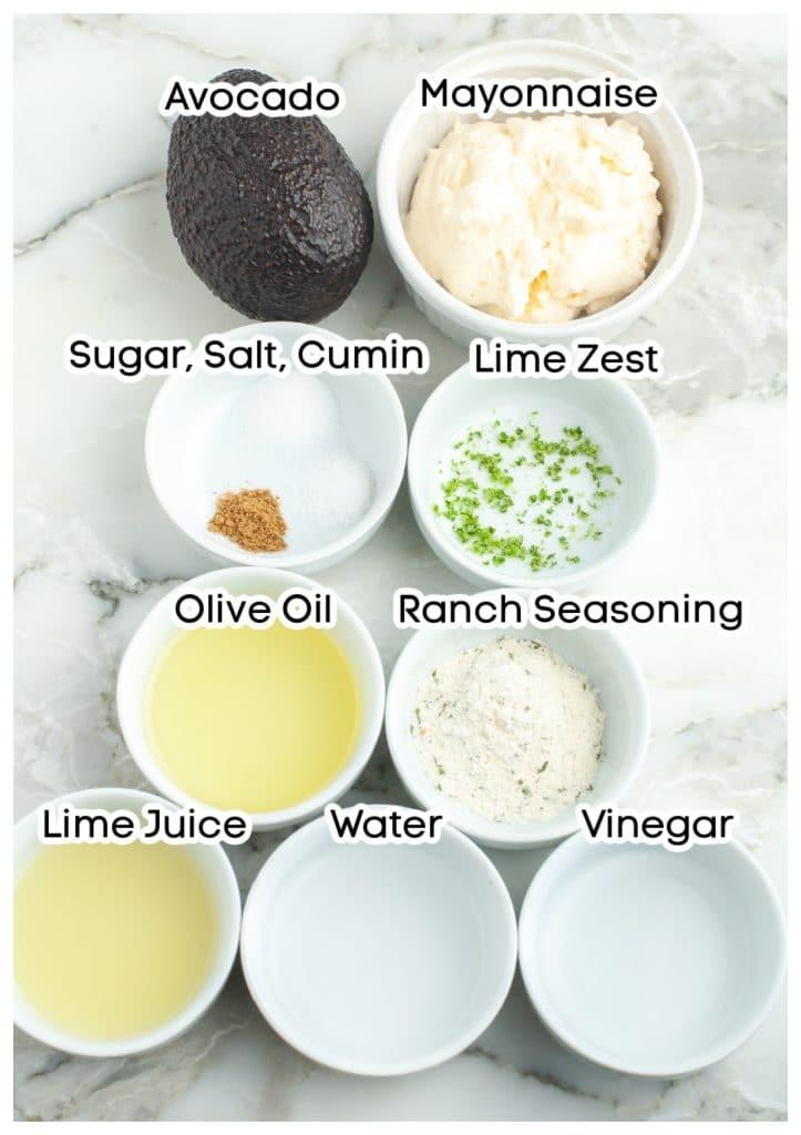 Bowls of mayonnaise, seasoning, lime juice, vinegar, water.
