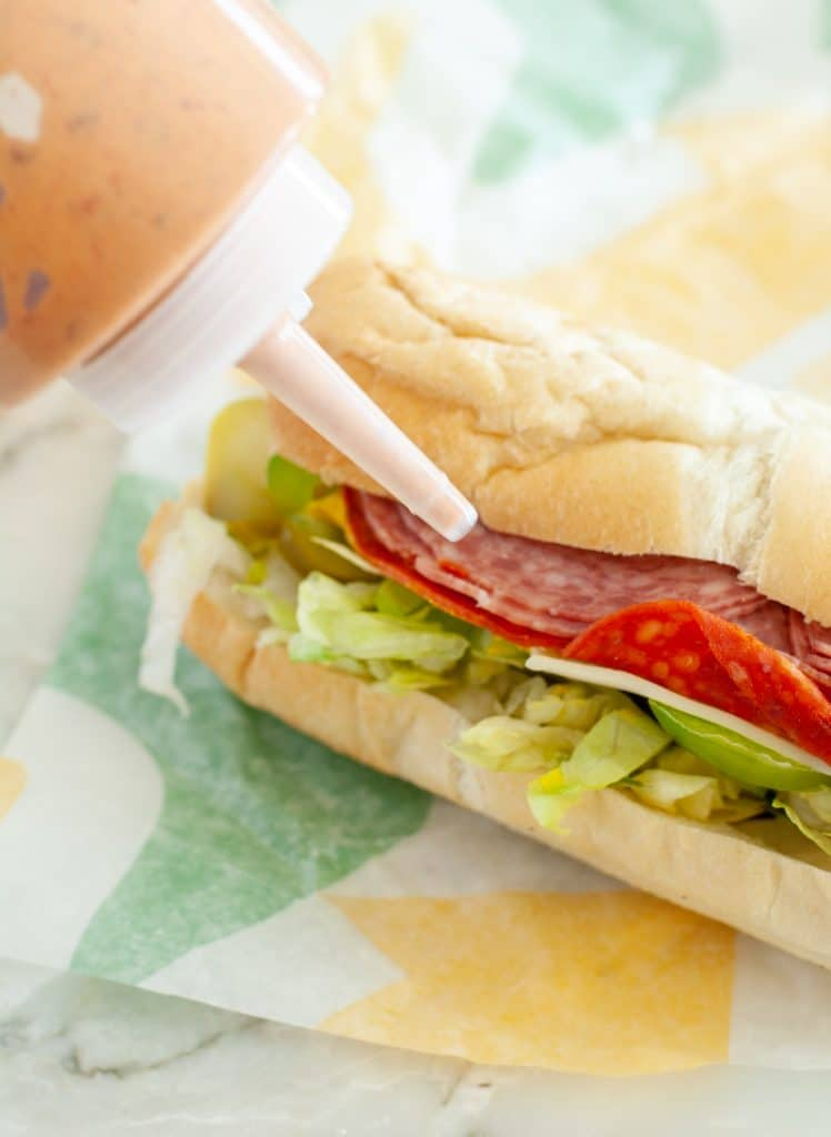 Sandwich with sauce.