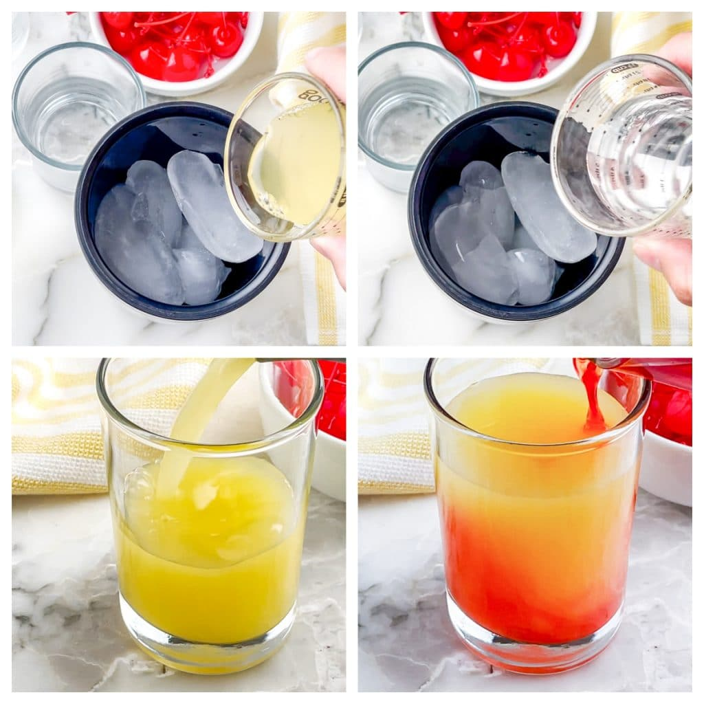Cocktail shaker with ice and glass with juice.
