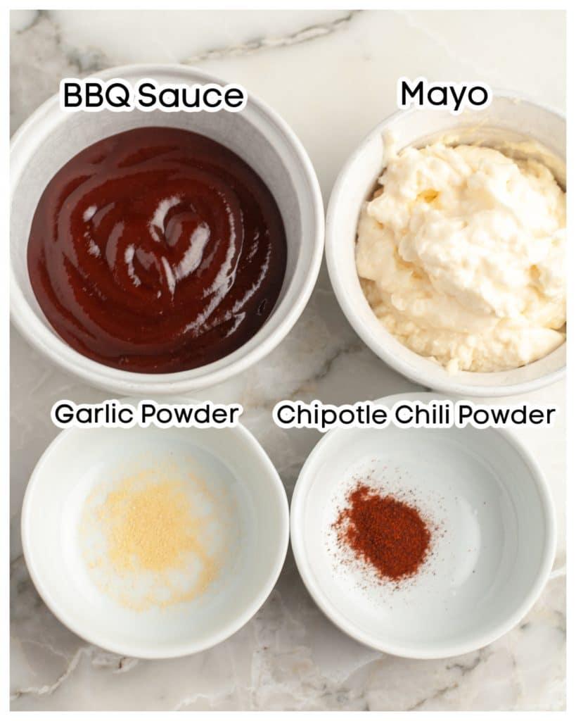 Bowl of BBQ sauce, mayo, garlic powder, and chipotle powder.