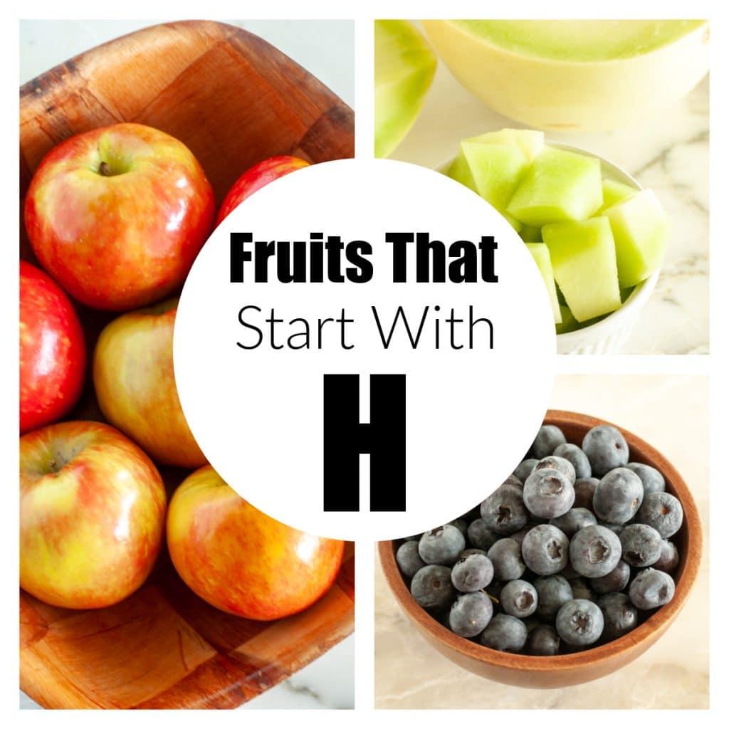 Apples, honeydew, and blueberries.