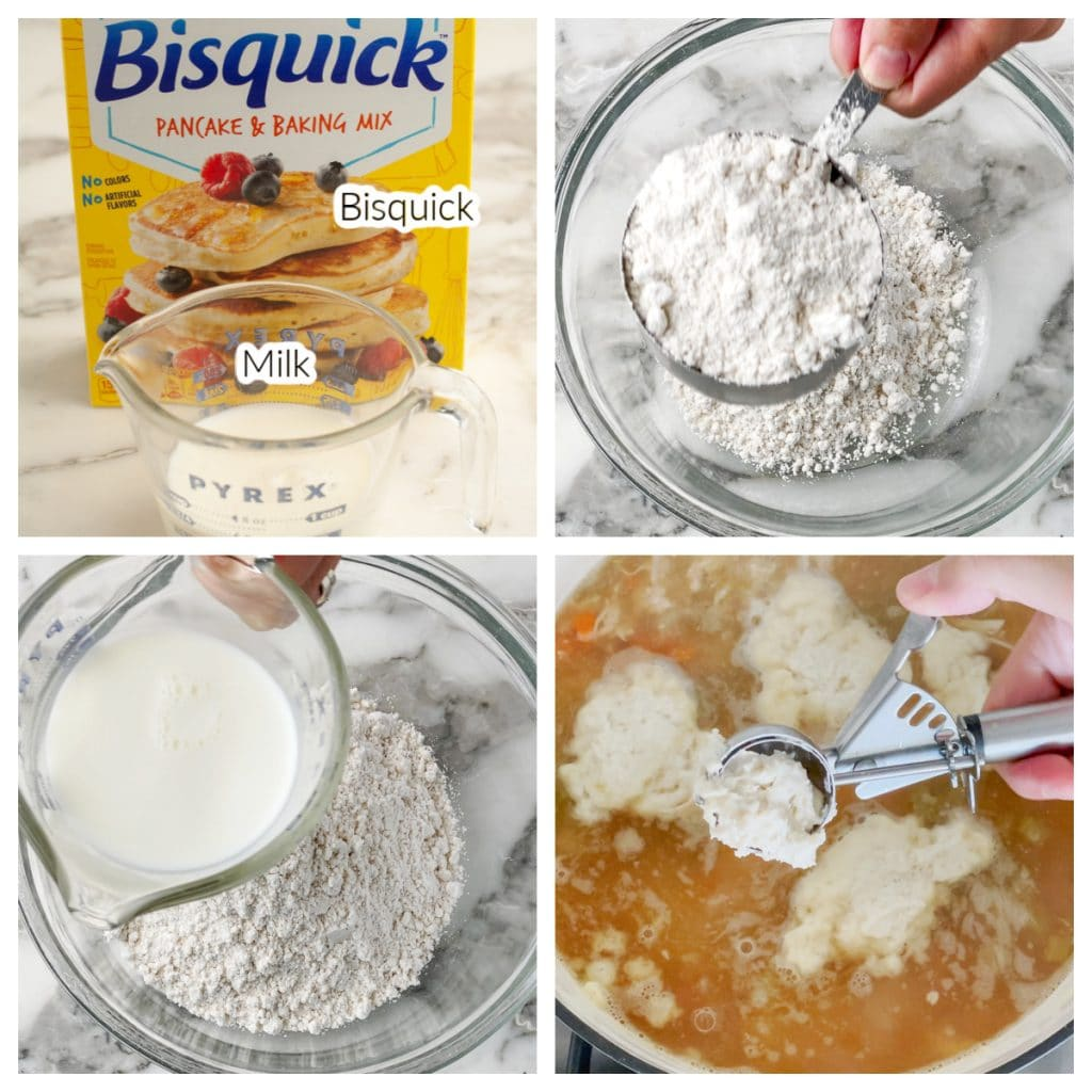 Box of Bisquick and bowl with milk.
