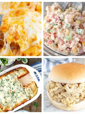 Lasagna, chicken sandwich, pasta and chicken salad.
