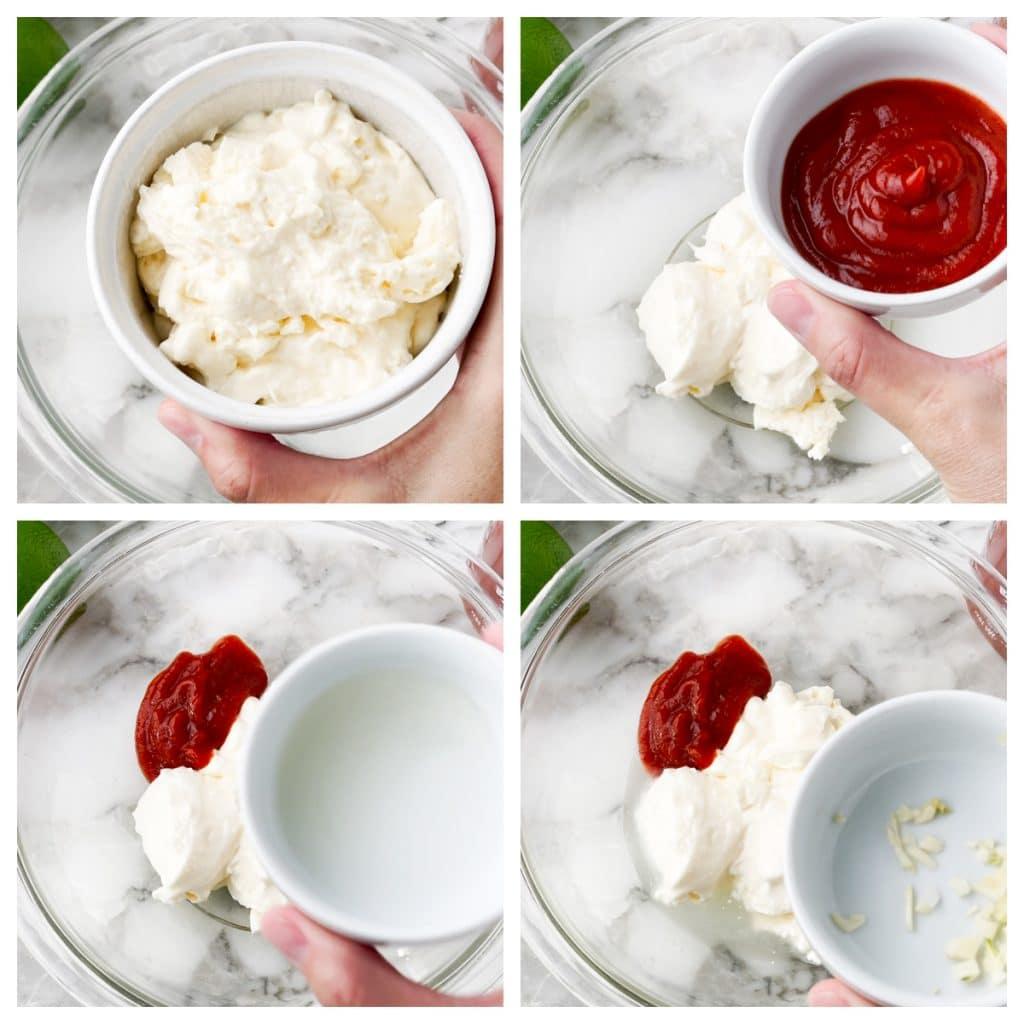 Mayo, sriracha, lime juice and garlic going into bowl.