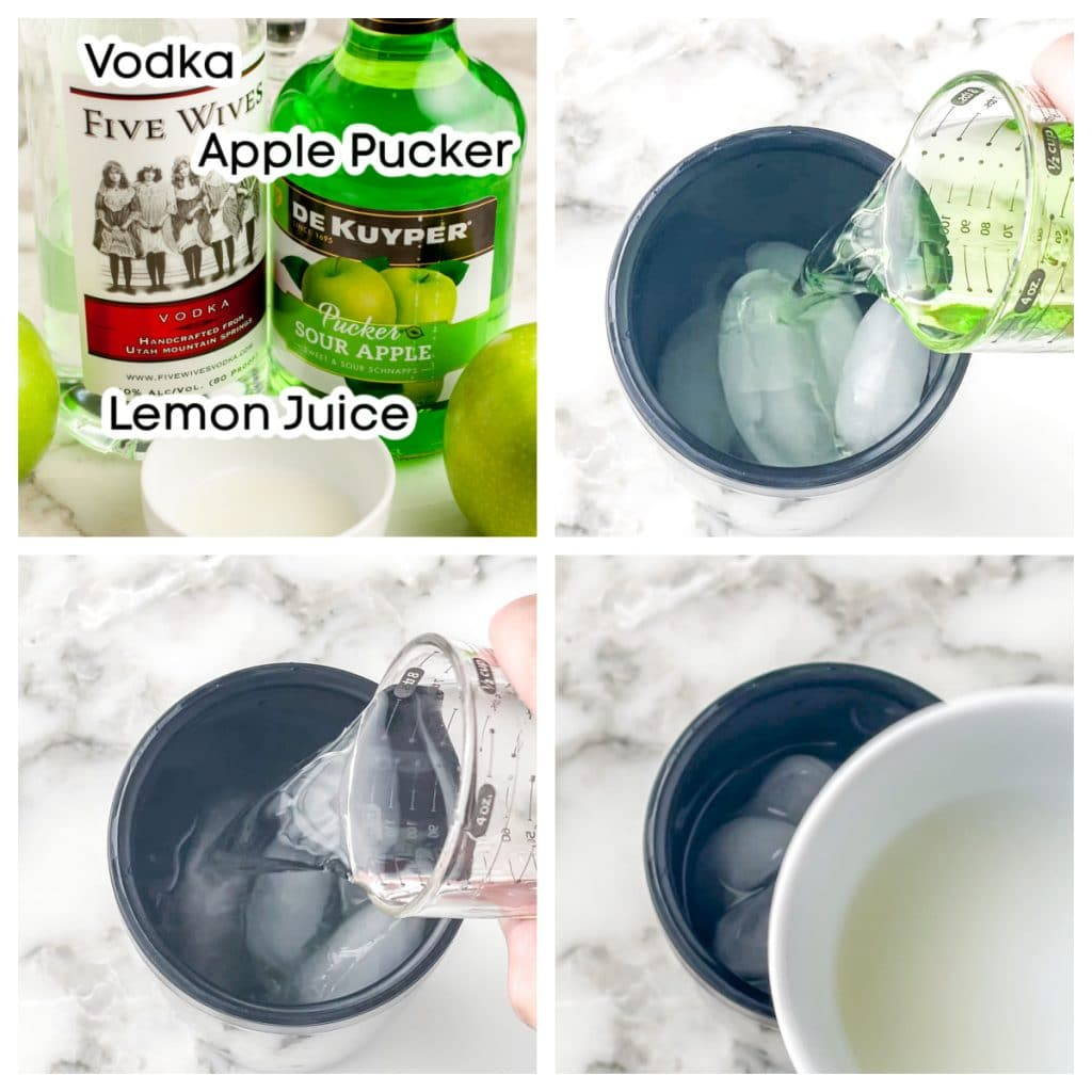 Shaker with ice and bottles of vodka, pucker and lemon juice.