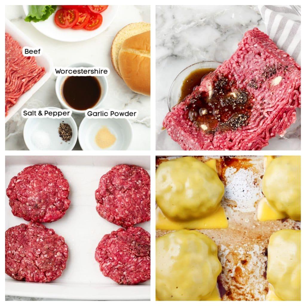 Ground beef in hamburger patties.