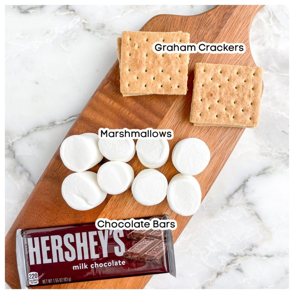 Chocolate bars, large marshmallows, and graham crackers.