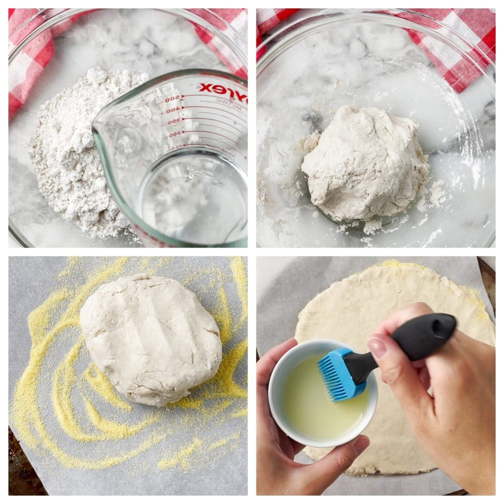 Bowl of flour and ball of dough on pan.