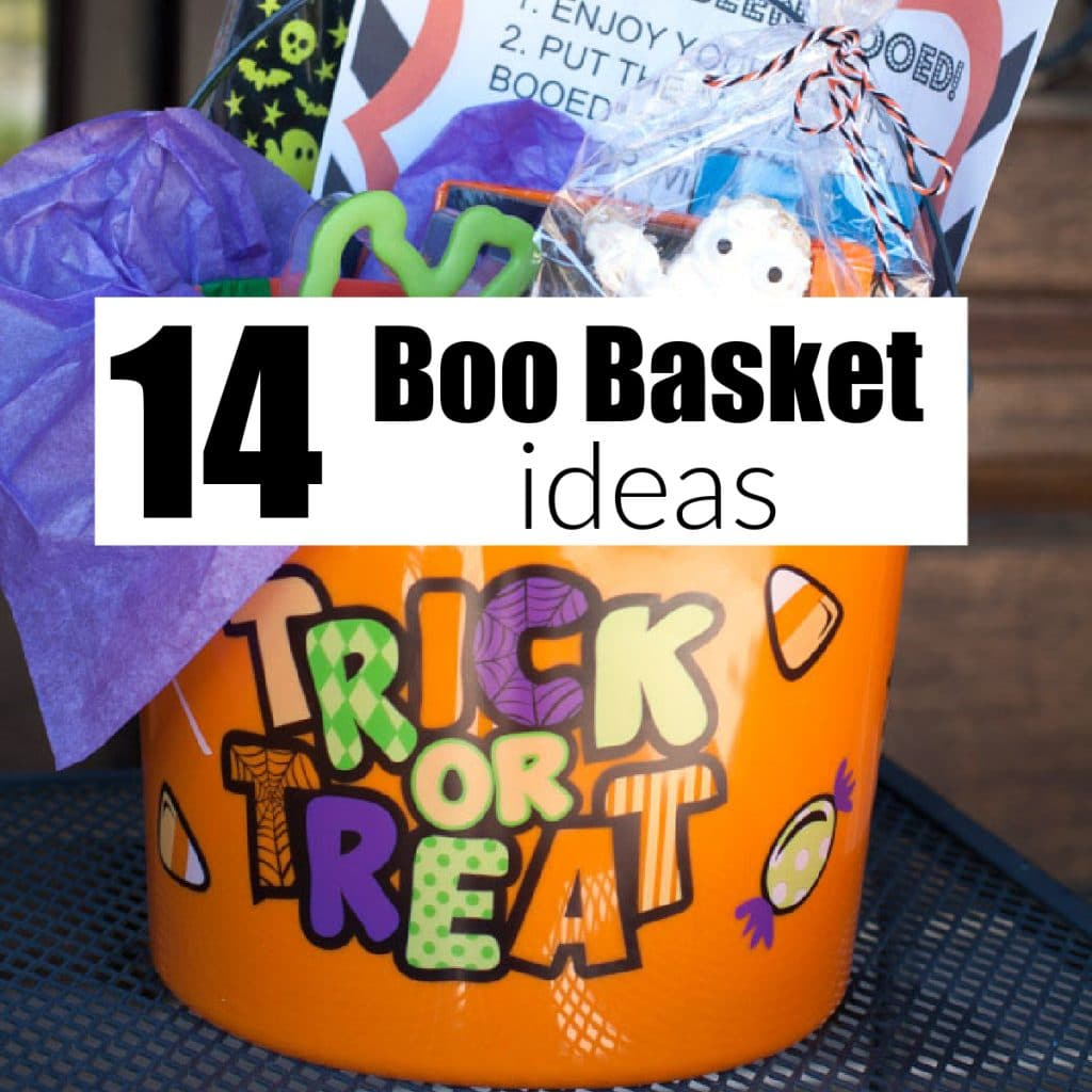 Trick or treat bucket filled with treats.