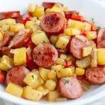 Bowl of sausage and potatoes.
