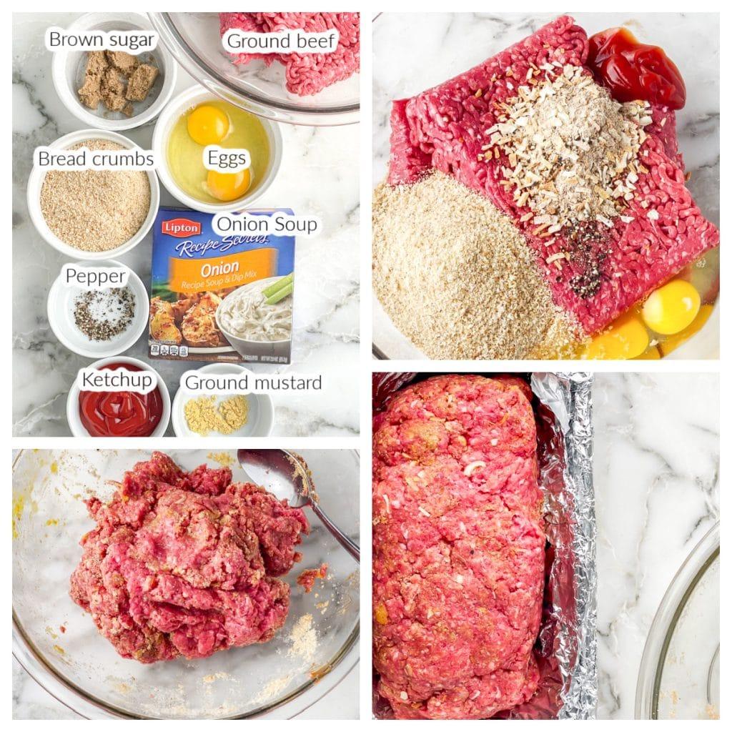 Meatloaf mixture in a bowl of pan.
