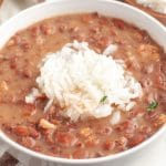 Bowl of beans and rice.