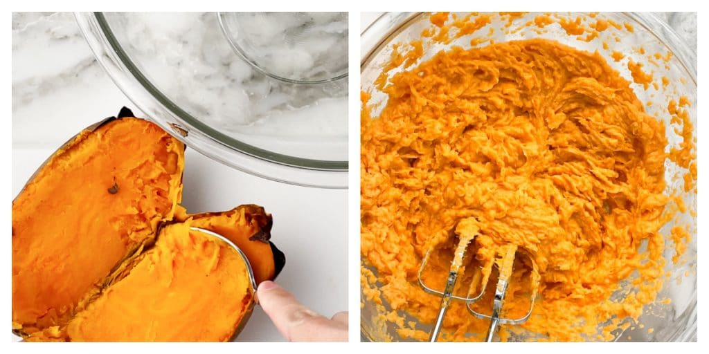 Baked sweet potatoes in bowl with mixer.