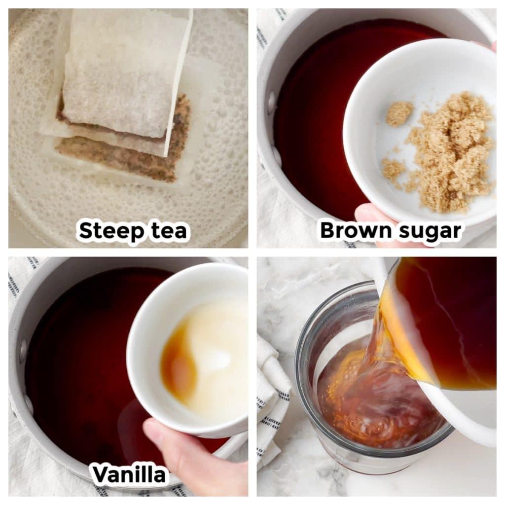 Pot of water, sugar and vanilla.
