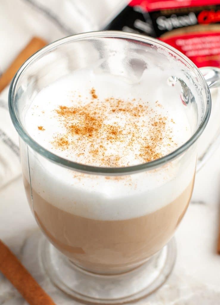 Mug with hot latte.