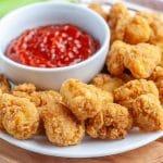Plate of chicken bites.