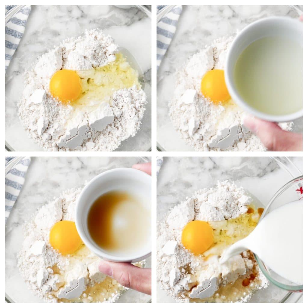 Bowl of flour, egg, oil, and milk.