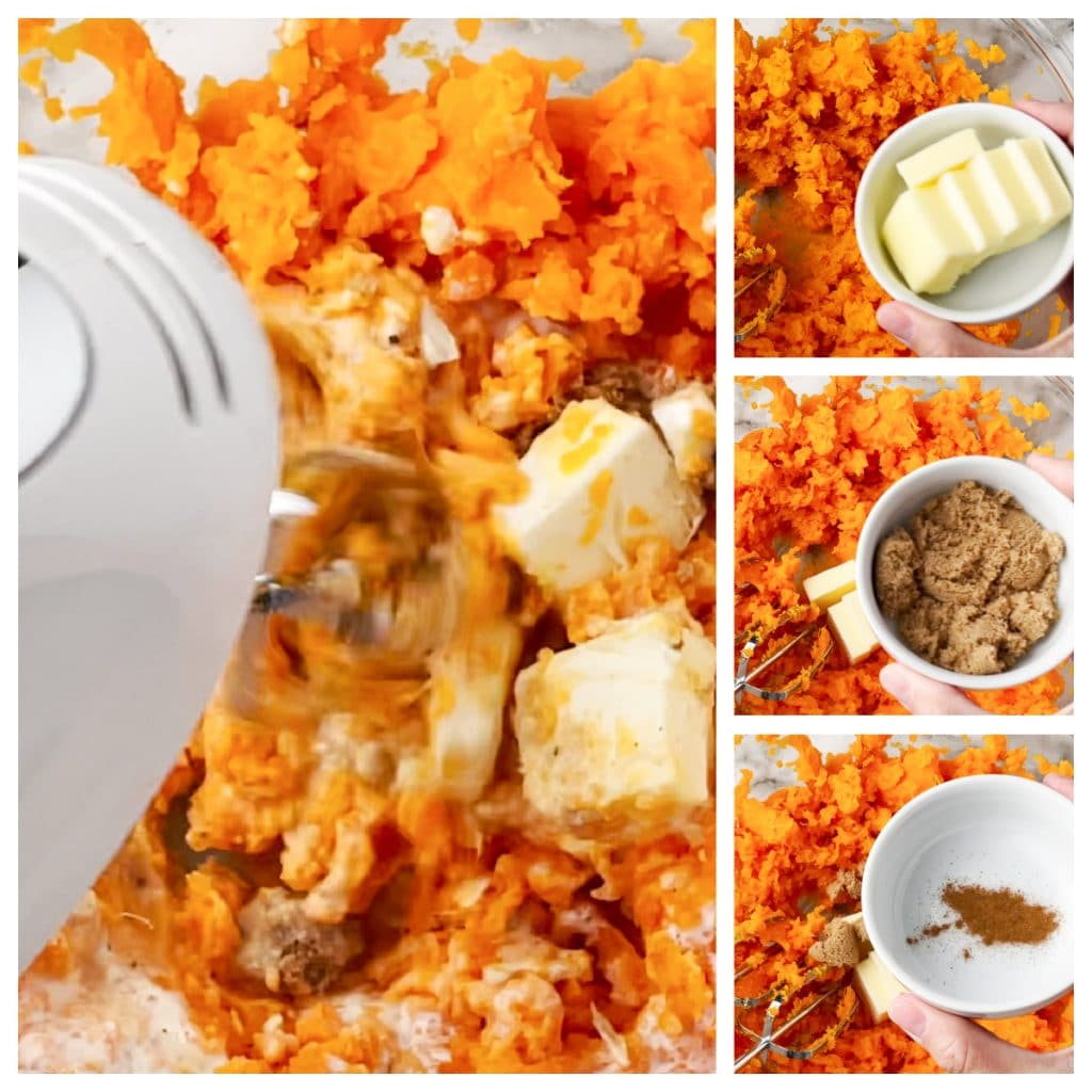 Mashed sweet potatoes with butter, brown sugar, and cinnamon.