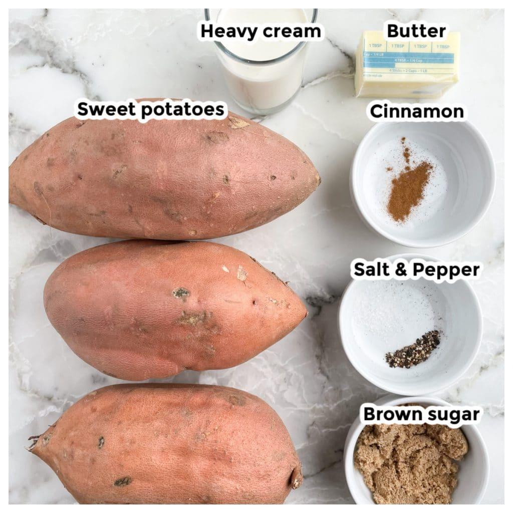Sweet potatoes, bowl of cream, butter, cinnamon, brown sugar, salt and pepper.